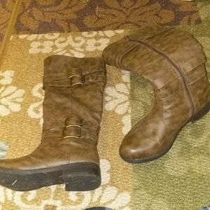 Brown wide calf boots with buckle accents